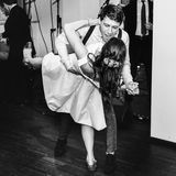 Stylish retro bride and groom dancing first wedding dance swing Stock Photography