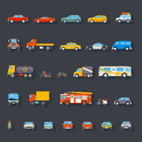 Stylish Retro Car Line Icons Set Isolated Stock Images