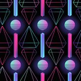 Stylish retro futuristic seamless pattern with gradient colored circles, stripes and polygons on black background. Vector illustration in 1980s style for Royalty Free Stock Photos