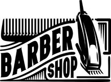 Stylish retro icon with a comb and a machine for the barber shop Stock Photos