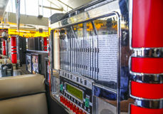 Stylish retro jukebox at an American Diner in Los Angeles - LOS ANGELES - CALIFORNIA - APRIL 20, 2017. Stylish retro jukebox at an American Diner in Los Angeles Royalty Free Stock Photo
