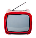 Stylish retro TV. Red retro TV close up isolated on a white background Royalty Free Stock Photo