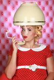 Stylish Retro Woman Having Her Hair Dried Royalty Free Stock Photography