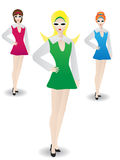 Stylish Retro Woman Standing in Modeling Poses. Three lovely gals standing in identical pose in retro outfits Royalty Free Stock Image