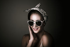 Stylish Retro Woman Wearing Fashion Sunglasses Stock Photography