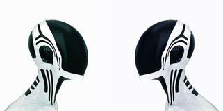 Stylish robotic heads in helmet Stock Photography