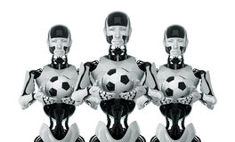Stylish robots with football balls. Cool modern cyborgs that hold football symbols Stock Photo