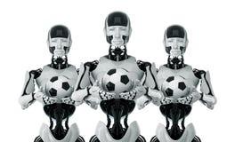 Stylish robots with football balls Stock Photo