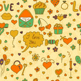 Stylish romantic seamless pattern in vector on a beige backgroun Stock Photography