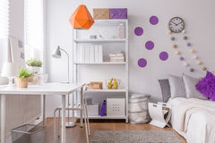 Stylish room for female student Stock Photos