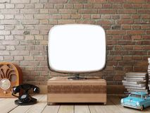 Stylish room with a TV and a retro mock up screen. Hipser room in retro style. Objects on the background of brick wall and wooden floor. 3D render royalty free illustration