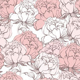 Stylish Rose Flowers Seamless Background. Floral Vector Pattern. Rose Quartz Tint Ornament Stock Photography
