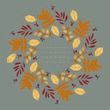 Stylish round frame with decorative autumn leaves Stock Photos