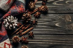 Stylish rustic winter or autumn wallpaper with anise cinnamon an Royalty Free Stock Photography