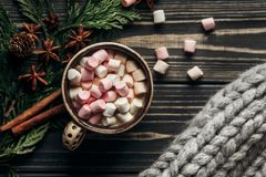 Stylish rustic winter flat lay of cup with colorful marshmallows Stock Image