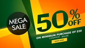 Stylish sale banner design with offer details for promotion Stock Image