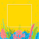 Stylish sea bottom background with seaweeds and place for your text. Bright vector marine live banner.  Royalty Free Stock Photography