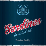 Stylish Sea Food Poster. With words sardines in salad oil of premium quality vector illustration Stock Photography