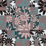 Stylish seamless floral retro pattern. Blue, brown background. Colorful background vector illustration