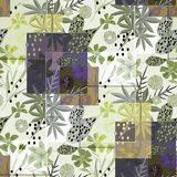 Stylish seamless floral retro pattern. Blue, green flowers, leaves on a light background. Colorful background vector illustration