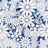 Stylish seamless floral retro pattern. White flowers on blue background. Colorful background stock illustration