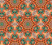 Stylish seamless pattern with beautiful ornament of green, orange and brown shades Royalty Free Stock Photos