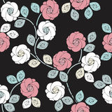 Stylish seamless pattern with beautiful roses and leaves Stock Image