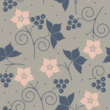 Stylish seamless pattern with blackberry, leaves and flowers Royalty Free Stock Image