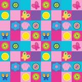 Stylish seamless pattern with butterflies buttons and flowers. Stylish seamless pattern with a butterflies buttons and flowers Royalty Free Stock Photography