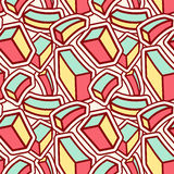 Stylish Seamless Pattern with Curved Colorful Cubes. Geometrical Mix of Cube Objects for Textile Design. Vector Illustration stock illustration