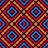 Stylish seamless pattern with decorative ornament of blue, orange, red, and black shades. Abstract stylish seamless pattern with decorative ornament of blue Stock Photo