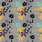 Stylish seamless pattern with flowers and autumn leaves Royalty Free Stock Image