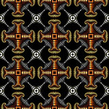 Stylish seamless pattern with golden, silver, bronze and stainless steel decorative elements on black background Royalty Free Stock Images