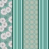 Stylish seamless pattern on green background. Seamless pattern with green flowers and colorful stripes Royalty Free Stock Photos