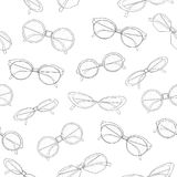 Stylish seamless pattern with hand drawn fashionable sunglasses of different shapes and models on white background royalty free illustration