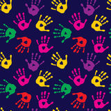 Stylish seamless pattern with imprints of children`s palms. Stylish seamless pattern with a imprints of children`s palms Vector Illustration