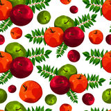 Stylish seamless pattern of leaves and apples. Fruit pattern. Apple harvest. Beautiful background for greeting cards, invitations. Royalty Free Stock Photography