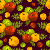 Stylish seamless pattern of leaves and apples. Fruit pattern. Apple harvest. Beautiful background for greeting cards, invitations. Royalty Free Stock Images