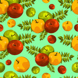 Stylish seamless pattern of leaves and apples. Fruit pattern. Apple harvest. Beautiful background for greeting cards, invitations. Royalty Free Stock Image