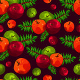 Stylish seamless pattern of leaves and apples. Fruit pattern. Apple harvest. Beautiful background for greeting cards, invitations. Stock Image