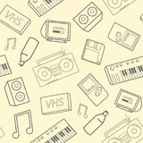 Stylish seamless pattern with old school attributes, electronic devices and music instruments on yellow background. Back stock illustration