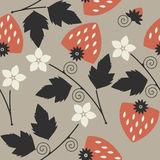 Stylish seamless pattern with red strawberries Royalty Free Stock Images