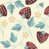 Stylish seamless pattern with red strawberries kernels, leaves, Stock Image