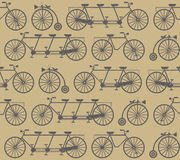 Stylish seamless Pattern with retro bicycles. For your designs Royalty Free Stock Photos
