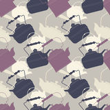 Stylish seamless pattern with retro teapots stock illustration