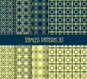 Stylish seamless pattern set. Decorative line tile backgrounds. Stock Images