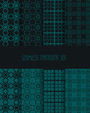 Stylish seamless pattern set. Decorative line tile backgrounds. Stock Photography