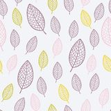 Stylish seamless pattern with textured leaves Stock Photo
