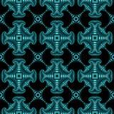 Stylish seamless pattern with turquoise metallic decorative elements on black background Stock Image