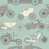 Stylish seamless pattern with vintage cars and bikes. Perfect template for wallpaper, retro card, paper, linen,  tissue, design fabric and more creative Royalty Free Stock Photos